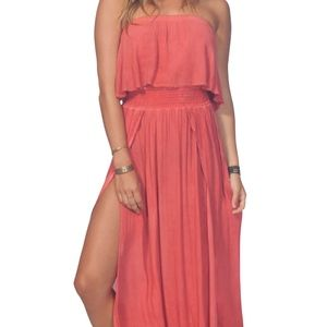 Strapless Maxi Summer Dress /Blouson in Deep Coral